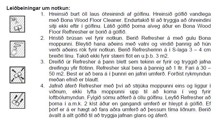 Bona Refresher Leiðbeiningar